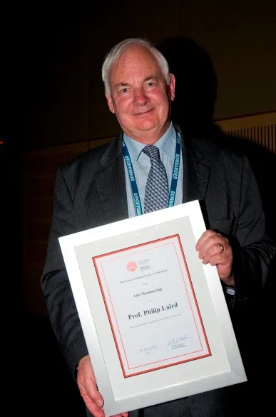 Philip Laird pictured with his RTSA Life Membership award in 2008