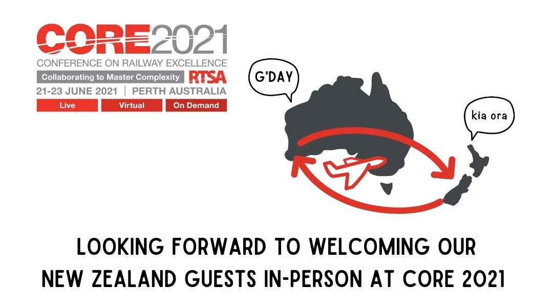 CORE 2021 infographic with CORE logo, map of Australia and New Zealand, with text stating we are looking forward to welcoming NZ guests in person at CORE