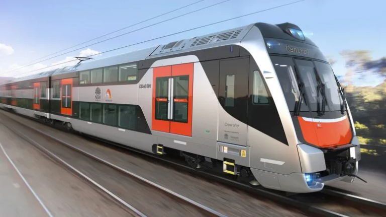 Artist's impression of the new intercity fleet train in silver and orange livery
