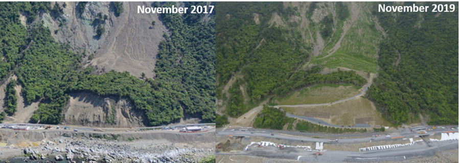 two images showing the works to the  area following the 2016 Kaikoura earthquake