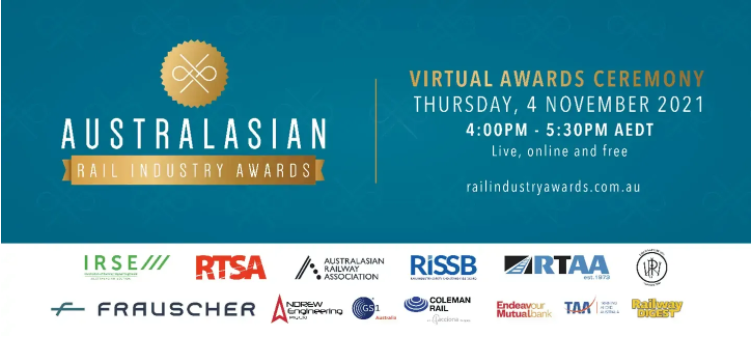 Australasian Rail Industry Awards logo with supporting organisations logos, Virtual Awards 4th November 4-5:30pm AEDT