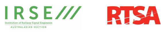Green text IRSE logo and red text RTSA logo