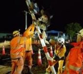 Image of 4 people in high visibility orange clothing working on the boom gate at a level crossing at night